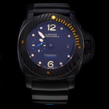 Panerai Luminor Submersible Automatic PVD Case with Black Dial-Rubber Strap-1