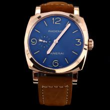 Panerai Radiomir Automatic Rose Gold Case with Blue Dial-Leather Strap
