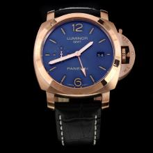 Panerai Luminor Working GMT Automatic Rose Gold Case with Blue Dial-Leather Strap