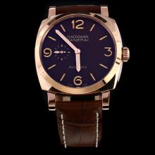 Panerai Radiomir Automatic Rose Gold Case with Brown Dial-Leather Strap