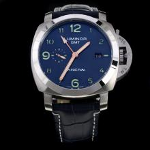 Panerai Luminor Working GMT Automatic with Blue Dial-Leather Strap-2