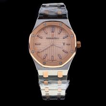Audemars Piguet Royal Oak Two Tone Stick Markers with Champagne Dial-Lady Size