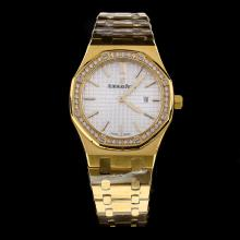 Audemars Piguet Royal Oak Full Gold Diamond Bezel Stick Markers with Silver Dial-Lady Size