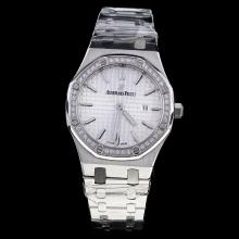 Audemars Piguet Royal Oak Diamond Bezel Stick Markers with Silver Dial S/S-Lady Size
