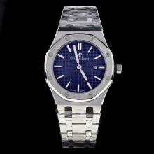 Audemars Piguet Royal Oak Stick Markers with Blue Dial S/S-Lady Size