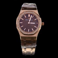 Audemars Piguet Royal Oak Full Rose Gold Diamond Bezel Stick Markers with Brown Dial-Lady Size