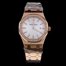 Audemars Piguet Royal Oak Full Rose Gold Diamond Bezel Stick Markers with Silver Dial-Lady Size