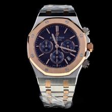 Audemars Piguet Royal Oak Working Chronograph Two Tone Stick Markers with Blue Dial-1