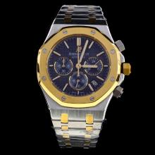 Audemars Piguet Royal Oak Working Chronograph Two Tone Stick Markers with Blue Dial