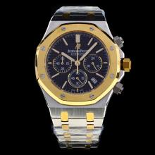 Audemars Piguet Royal Oak Working Chronograph Two Tone Stick Markers with Black Dial