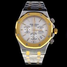 Audemars Piguet Royal Oak Working Chronograph Two Tone Stick Markers with Silver Dial