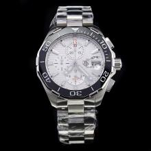 Tag Heuer Aquaracer Calibre 16 Working Chronograph Ceramic Bezel Stick Markers with White Dial S/S