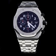 Audemars Piguet Royal Oak Offshore Working Chronograph Number Markers with Black Dial S/S-Same Chassis as 7750 Version-1