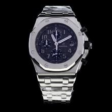 Audemars Piguet Royal Oak Offshore Working Chronograph Number Markers with Black Dial S/S-Same Chassis as 7750 Version