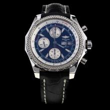 Breitling for Bentley GT Chronograph Swiss Valjoux 7750 Movement with Black Dial-Leather Strap