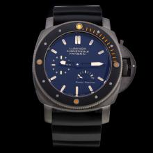 Panerai Lumior Submersible Working Power Reserve Automatic Titanium Case with Black Dial-Rubber Strap