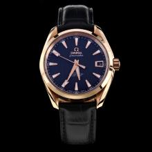 Omega Seamaster Swiss ETA 8500 Movement Rose Gold Case with Black Dial-Leather Strap-1