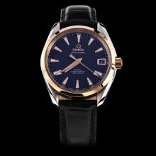 Omega Seamaster Swiss ETA 8500 Movement Two Tone Case with Black Dial-Leather Strap