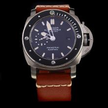 Panerai Luminor Submersible Swiss Calibre P.9000 Automatic Movement with Black Dial-Leather Strap