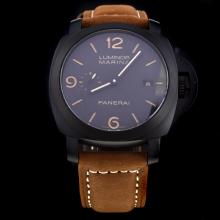 Panerai Luminor Marina Swiss Calibre P.9000 Automatic Movement PVD Case with Black Dial-Leather Strap