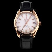 Omega Seamaster Swiss ETA 8500 Movement Rose Gold Case with White Dial-Leather Strap-2