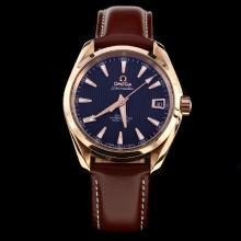 Omega Seamaster Swiss ETA 8500 Movement Rose Gold Case with Black Dial-Leather Strap