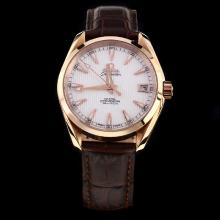 Omega Seamaster Swiss ETA 8500 Movement Rose Gold Case with White Dial-Leather Strap-1