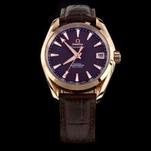 Omega Seamaster Swiss ETA 8500 Movement Rose Gold Case with Brown Dial-Leather Strap