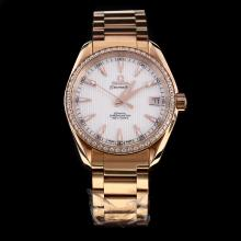 Omega Seamaster Swiss ETA 8500 Movement Full Rose Gold Diamond Bezel with White Dial