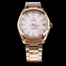 Omega Seamaster Swiss ETA 8500 Movement Full Rose Gold with White Dial