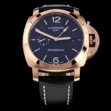 Panerai Luminor Working GMT Automatic Rose Gold Case with Black Dial-Leather Strap
