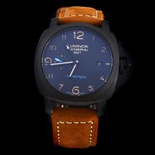 Panerai Luminor Working GMT Automatic PVD Case with Black Dial-Leather Strap