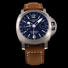Panerai Luminor Working GMT Automatic Titanium Case with Black Dial-Leather Strap
