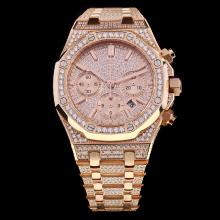 Audemars Piguet Royal Oak Chronograph Swiss Valjoux 7750 Movement Full Rose Gold with Diamonds