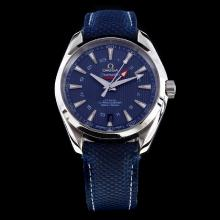 Omega Seamaster Working GMT Swiss ETA 8500 Movement with Blue Dial-Nylon Strap