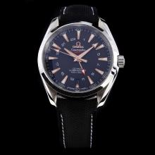 Omega Seamaster Working GMT Swiss CAL 8605 Movement with Black Dial-Nylon Strap-1