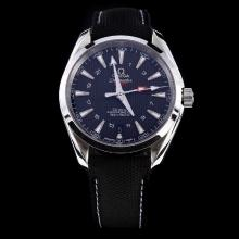 Omega Seamaster Working GMT Swiss CAL 8605 Movement with Black Dial-Nylon Strap