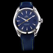 Omega Seamaster Working GMT Swiss CAL 8507 Movement with Blue Dial-Nylon Strap