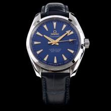 Omega Seamaster Working GMT Swiss ETA 8500 Movement with Blue Dial-Leather Strap