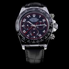 Rolex Daytona Automatic Ceramic Bezel with Black Dial-Leather Strap
