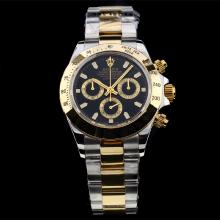 Rolex Daytona Chronograph Swiss Valjoux 7750 Movement Two Tone with Black Dial-Stick Marking