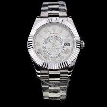 Rolex Sky Dweller Swiss ETA 2836 Movement with White Dial S/S-Sapphire Glass