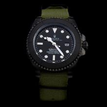 Rolex Submariner Stealth Automatic PVD Case with Black Dial-Army Green Nylon Strap