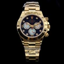 Rolex Daytona Chronograph Swiss Valjoux 7750 Movement Full Gold Diamond Markers with Black Dial