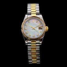 Rolex Datejust Swiss ETA 2671 Movement Two Tone Diamond Marking with MOP Dial-Lady Size