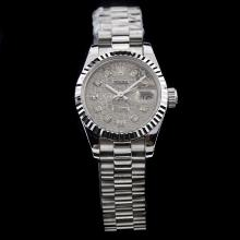 Rolex Datejust Swiss ETA 2671 Movement Gray Computer Dial with Diamond Marking-Lady Size