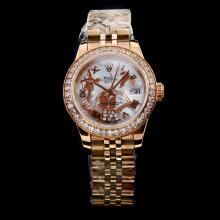Rolex Datejust Automatic Full Rose Gold Diamond Bezel with White MOP Dial Flowers Illustration-Roman Marking
