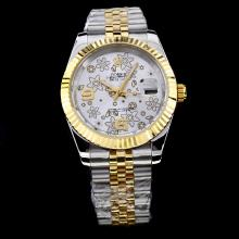 Rolex Datejust II Automatic Two Tone with Silver Floral Motif Dial