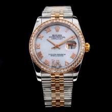 Rolex Datejust Swiss ETA 2836 Movement Two Tone Diamond Bezel Roman Markers with MOP Dial