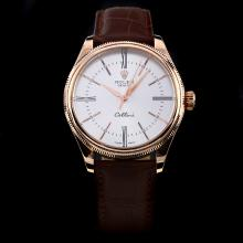 Rolex Cellini Automatic Rose Gold Case with White Dial-Leather Strap